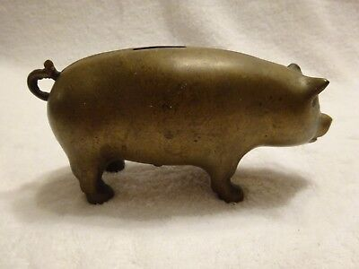 Vintage Collectible Piggy Bank - Brass Pig