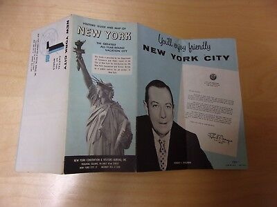 Visitors' Guide and Map of New York City, 1961, Mayor Robert F. Wagner
