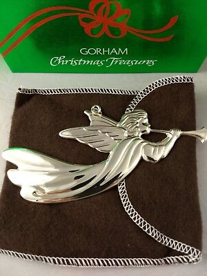 1986 Gorham Angel with Trumpet Sterling Silver Christmas Ornament New w/box, bag