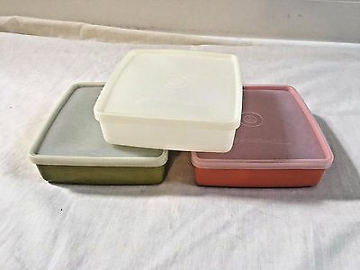 3 vintage tupperware sandwich keepers square away lids containers lot