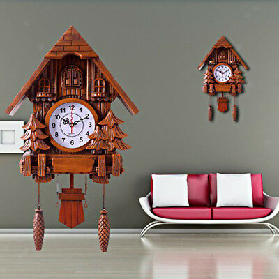 Retro Superior Plastic Cuckoo Coo Living Room Rocking Wall Clock-Brown