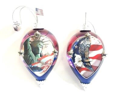 Heirloom Glass 02 03 Bradford Exchange God Bless America Collectible Ornaments