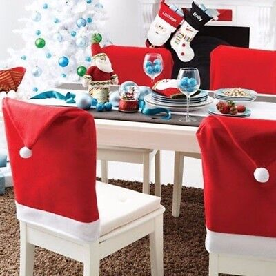 1PC Christmas Santa Claus Hat Dining Chair Back Cover Xmas Table Home Decor-RO