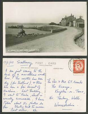 Shetland Isles Across The Ferry Ulsta Vote Labour Live Forever 1963 Old Postcard
