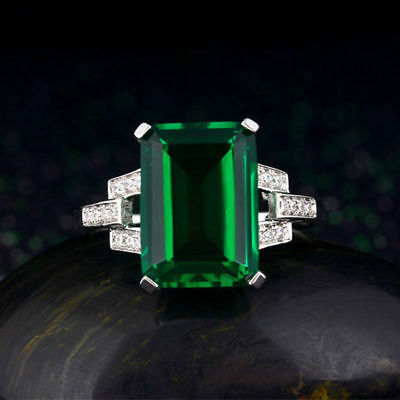 Size Q Emerald Green Solitaire Created Diamond 3 Stone Ring  Plated Silver Gift