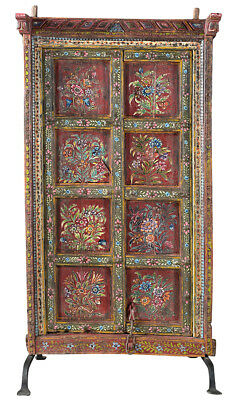 Antique  Hand Painted Old Carved Doors On Stand,37'' X 65''h.