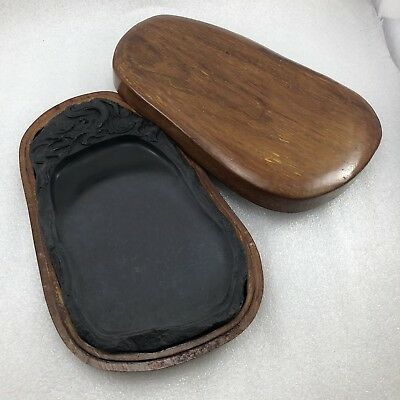 Japanese Calligraphy Ink Stone Carved Dragon Wood Wooden Box 9 3/4""