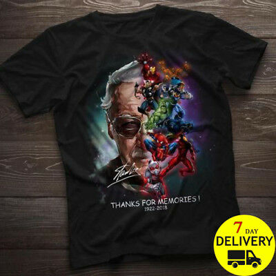 Stan Lee Superheroes Thank You For The Memories Gildan T Shirt Black Size S-3XL