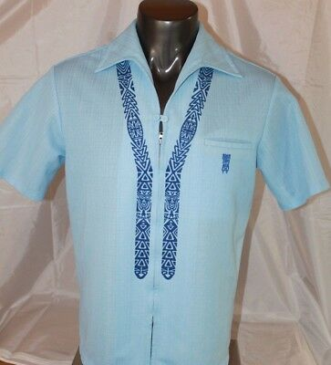 d9211a87 Vintage 60/70s Light Blue IOLANI Hawaiian Zip Front Shirt Tiki Men's Size  Large