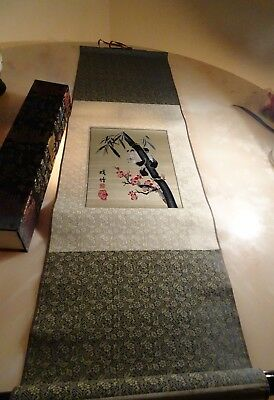 ANTIQUE CHINESE  hand painting SCROLL Panda signed with box