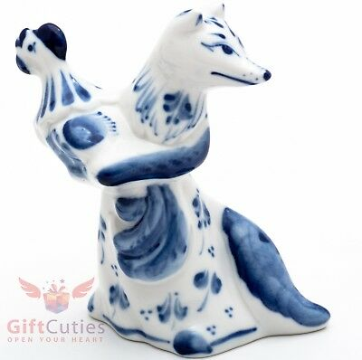 Gzhel Porcelain Figurine Fox with stolen rooster hand-painted Russia Kuma Lisa