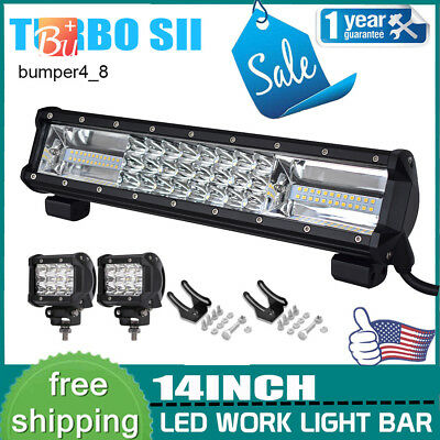 14inch 216W Flood LED Work Light Bar for Offroad ATV 4WD SUV Truck Driving Lamp