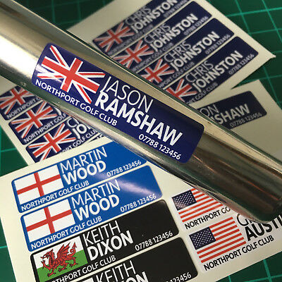 16 Personalised Golf Club Decal Labels 40x10mm Any Flag & Name FREE POSTAGE