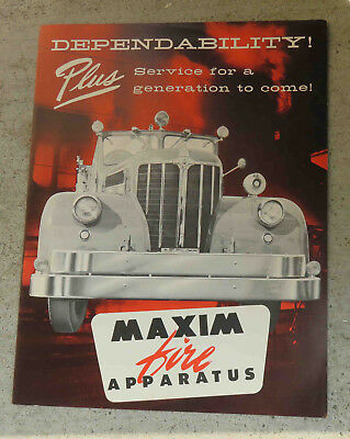 Original c 1950s  Maxim Fire  Apparatus  Brochure Pumpers Fire Fighting