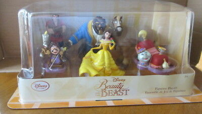 New Disney Store Beauty And The Beast Pvc Figures Cake Topper 6 Figure Set