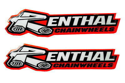 2 x RENTHAL CHAINWHEELS SWINGARM DECALS STICKERS RED/BLACK/WHITE for MOTOCROSS