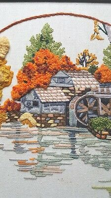 Framed Crewel Needlework Picture 18x18 Autumn Fall Water Wheel Trees Orange Blue