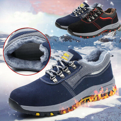 Men Women Safety Trainers Boots Work Steel Toe Cap Fur Lined Winter Warm Shoes