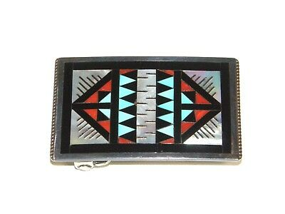 Zuni Sterling Silver Inlay Belt Buckle Native American Leander & Lisa Othole