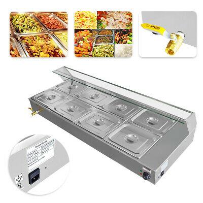 110V 8-Pan Catering Food Warmer Steam Table Bain-Marie Buffet Restaurant