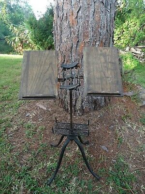 Antique 1895 Victorian Folding Bible Dictionary Stand Oak & Iron STEAMPUNK
