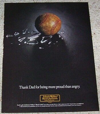 1989 print ad page - Johnnie Walker Scotch Whisky baseball Vintage Advertising