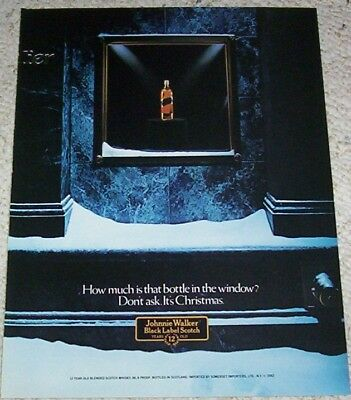 1982 ad page - Johnnie Walker Scotch-How much bottle in window PRINT Advertising