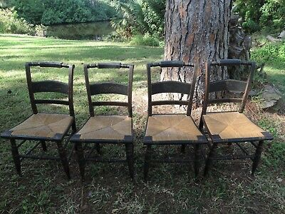 4 Antique Circa 1843-1852 HITCHCOCK Stenciled & Cattail Rush Chairs
