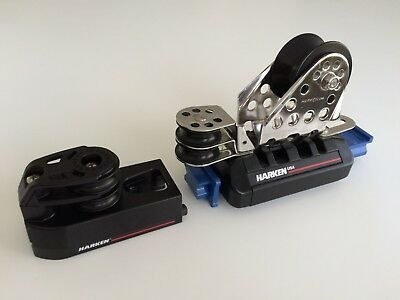 Pair of Harken Big Boat 32mm genoa cars + control blocks NEW