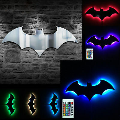 Home Decoration Remote control Batman LED Night Light 7 Color mirror Lamp Gift