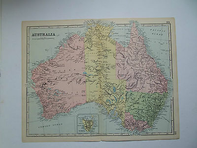 AUSTRALIA-ANTIQUE MAP BY BACON DATED 1890  10in x 13in