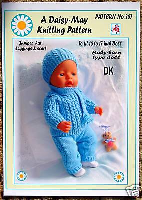 239 /& 240 to fit 8inch dolls by DaisyMay.DK//4ply 2 DOLLS KNITTING PATTERNS no