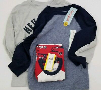 NEW Boys Size 4T Lot 2 LS Shirts Striped & 1 Pair of Cars Disney Pajamas NWT