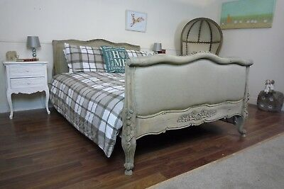 Rustic French Style Upholstered Double Bed In Weathered Oak Finish - Handmade