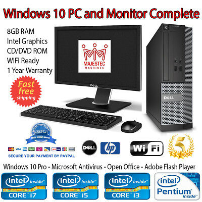 HP/DELL PC Computer Intel Core i3 i5 16GB RAM 1TB HDD SSD Windows 10 Pro Desktop