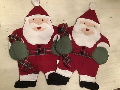 Pottery Barn Kids Santa Placemats With Plaid Napkins NEW Set Of 2
