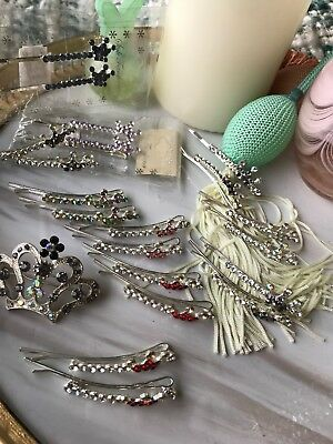 Huge Lot 11 Pack Crown Rhinestone  Bobby Pin Hair Stocking Stuffer Party Favors