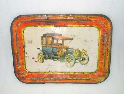 Vintage Original Old Collectible 1908 Berliet Car Ad Tin Litho Car Printed Tray