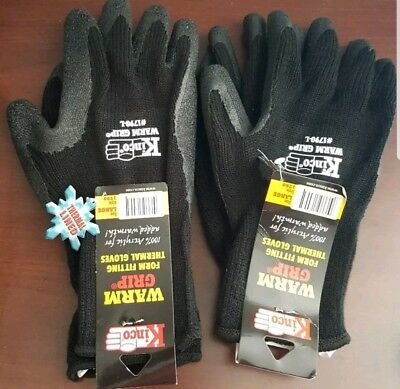 Kinco 1790 Warm Grip Form Fitting Gloves Size Large, Set of 2 Pair