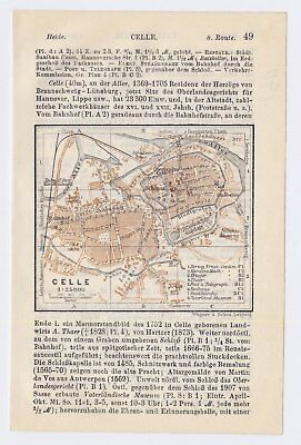 1911 Original Antique Map Of Celle Lower Saxony / Germany