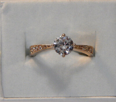 Gold Tone Clear Rhinestone Solitaire with Accents Ladies Gift Cocktail Ring Sz 8