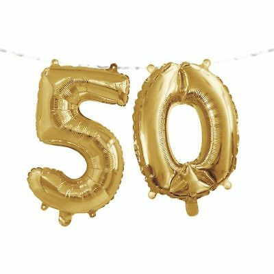 Gold 50th Birthday Balloon Banner 50 Number Fifty Party Decoration