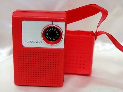 Vintage Red Lloyd's Transistor Radio With Red Carrying Case