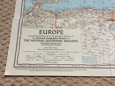National Geographic Society Map Europe. Good Condition June 1957