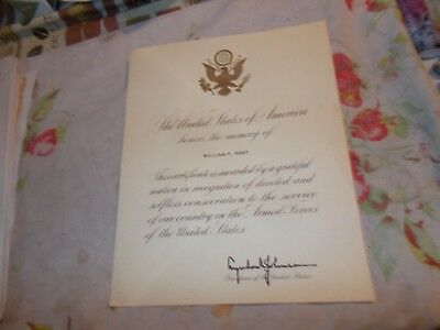 lyndon  johnson  signed  memory  paper   armed   forces