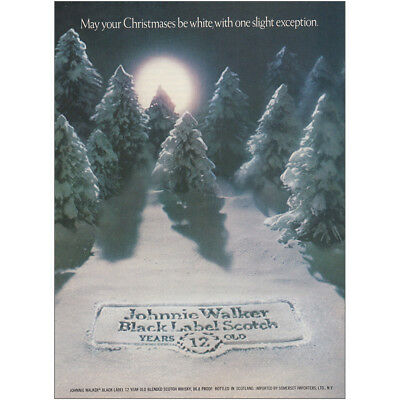 1975 Johnnie Walker: May Your Christmases Be White Vintage Print Ad