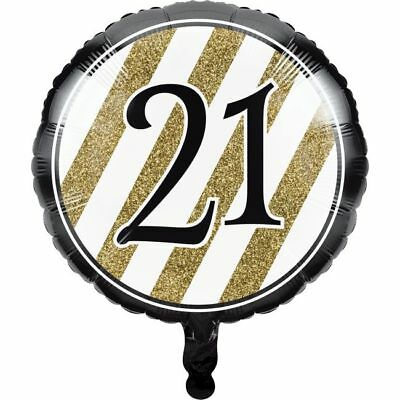 Black And Gold 21st Birthday Foil Balloon Party Decorations