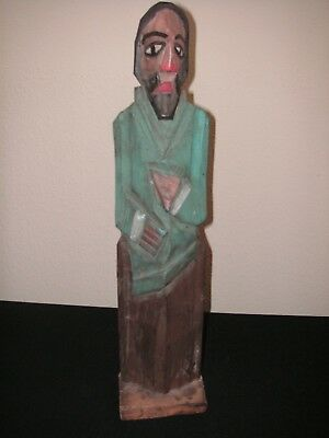 "Vintage Hand Carved Wood Santos Figure Statue 15"" Tall Mexico Central America"
