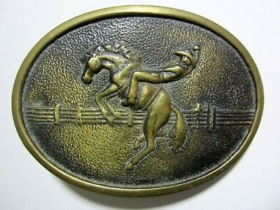- Vintage - Brass Bucking Bronco Rodeo Cowboy Belt Buckle