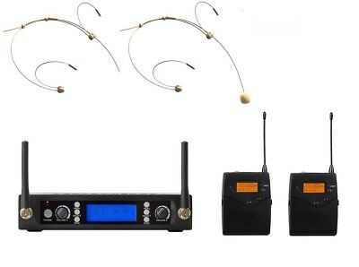 Headworn Wireless Microphone System UHF Professional 2 Cordless Headset mic Set